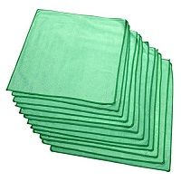 Green Microfiber Glass Towels