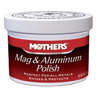 Red and white jar of Mothers Mag and Aluminum Wheel Polish
