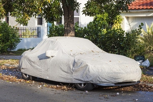Custom-fit outdoor car cover protecting from tree sap, leaves, and bird poop.