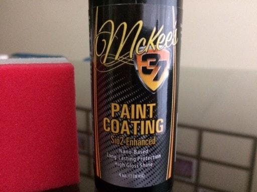 Label on bottle of Mckee's 37 paint coating