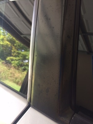 Trim between windows that has degraded over time from UV and finger prints leaving it spotty and faded.